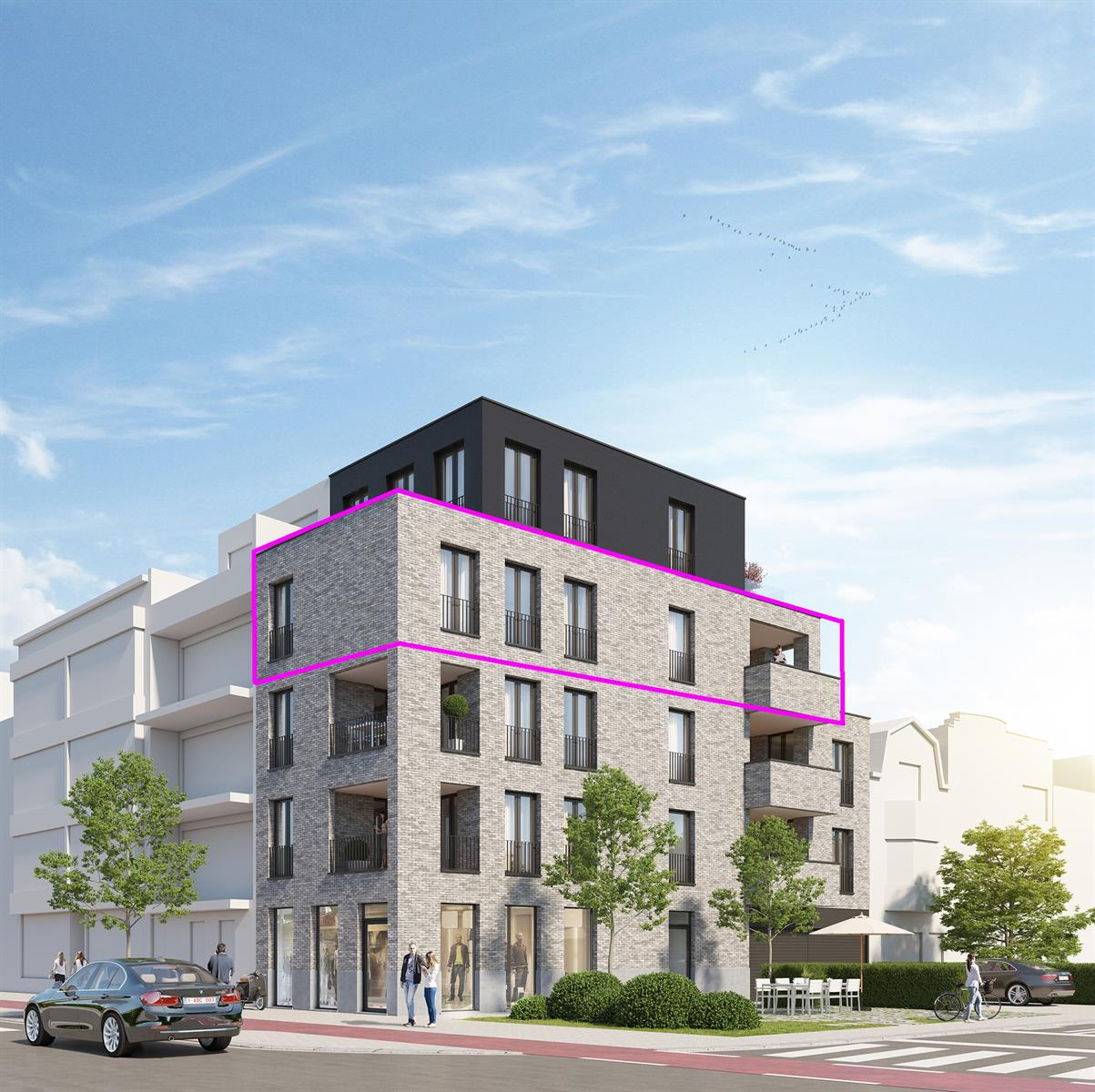 Nieuwbouw 2 slpk app 3de verd. met terras